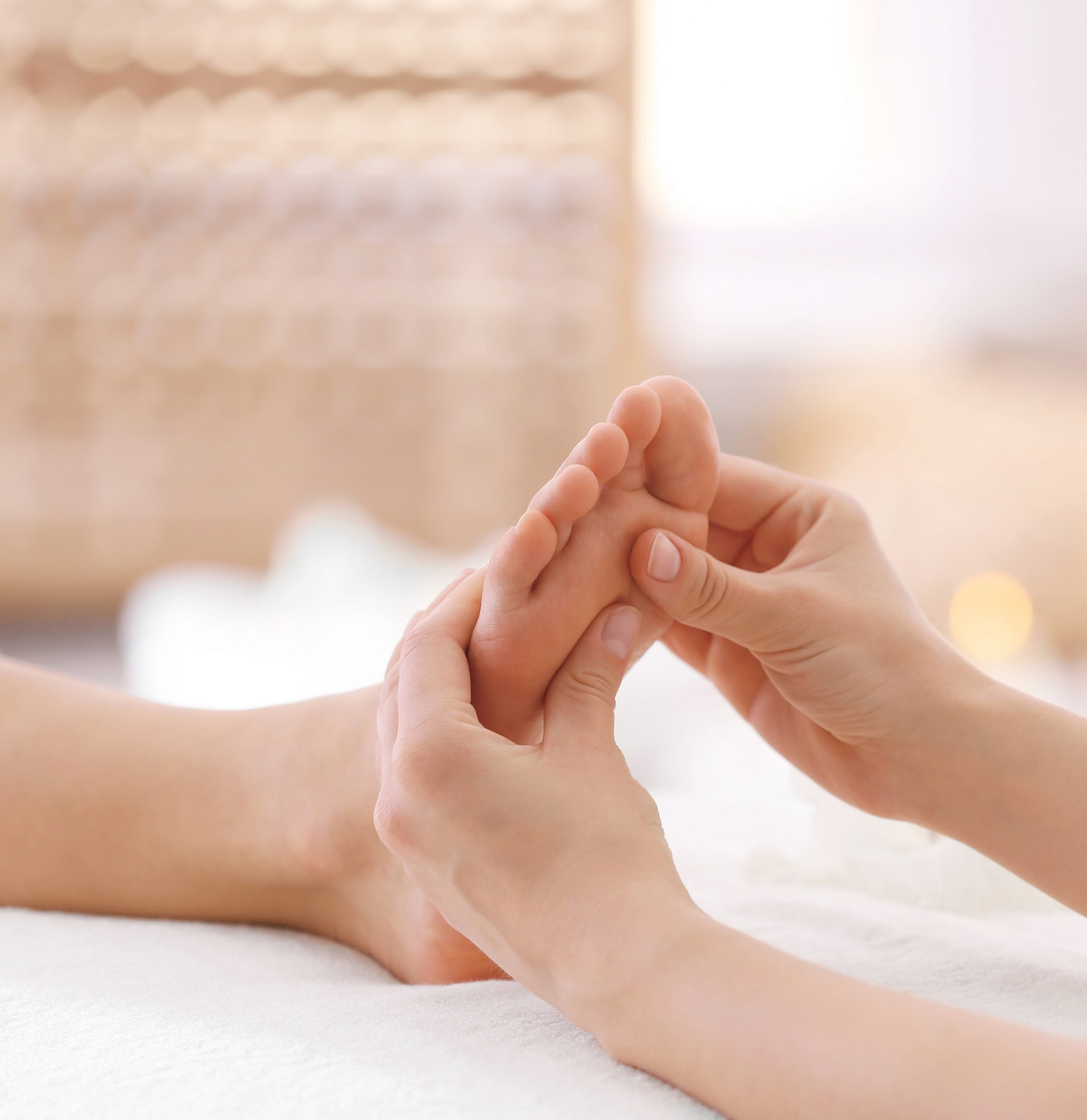 Reflexology uses gentle to moderate pressure on various pressure points in the hands, feet, and ears. We come to your home with massage table, linens, candles, music and oil.